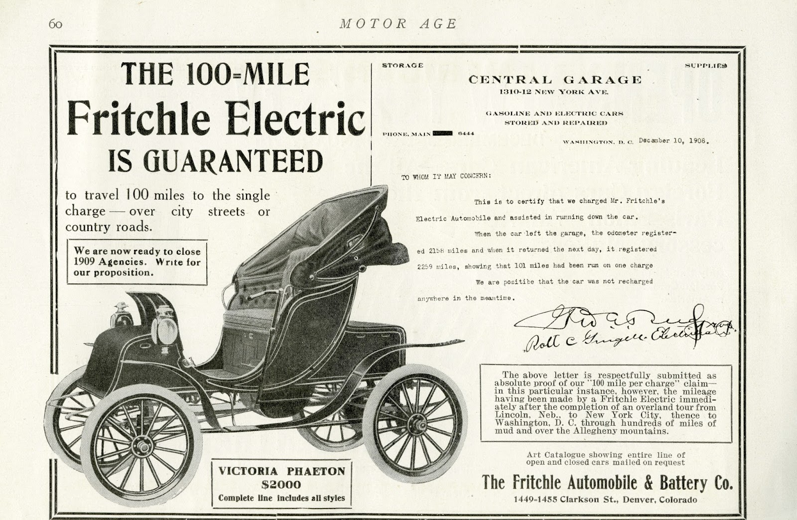 Colfax Avenue Fritchle Electric Car Company