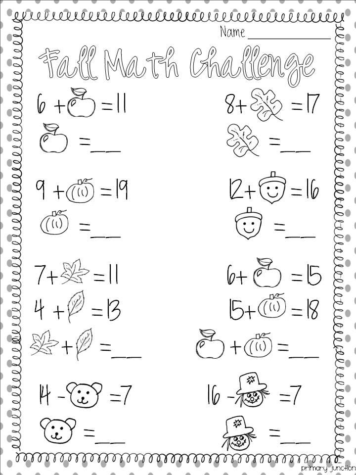 Fall Math Worksheet - Classroom Freebies