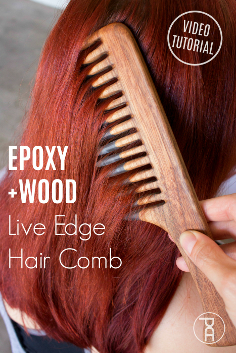 live edge walnut wood epoxy resin river beard hair comb video tutorial