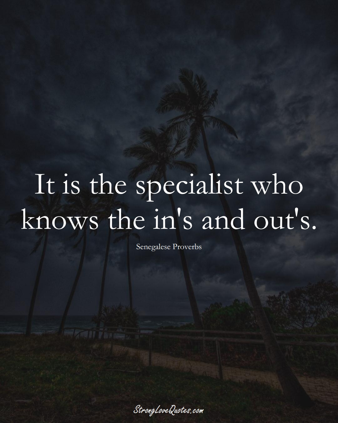 It is the specialist who knows the in's and out's. (Senegalese Sayings);  #AfricanSayings