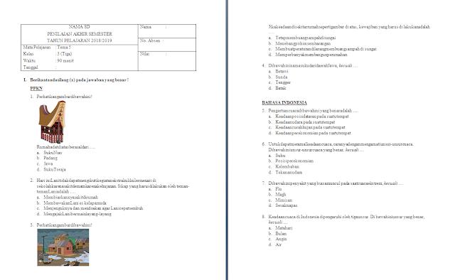 Soal PAS Kelas 3 SD/MI: Tema 5