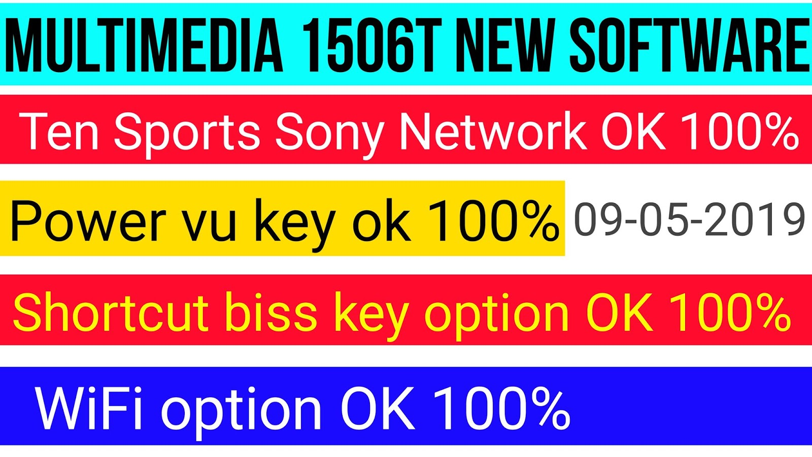 Multimedia 1506T New Power vu key Ten Sports OK With shortcut biss key Option