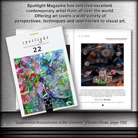 """Revista Spotlight 22, con la obra de Ramón Rivas:  """"Pinceladas Experienciales en el Universo"""""""