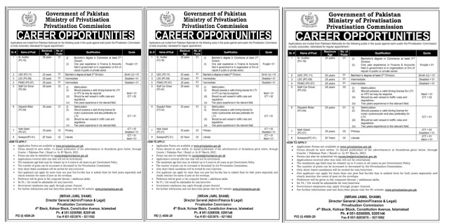 Ministry of Privatisation Commission Government Of Pakistan Jobs 2021 For Sr Auditor,UDC,LDC & more