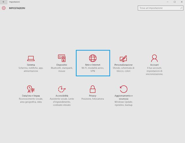impostazioni windows 10 connessione rete internet wifi eliminare password