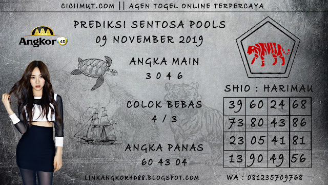 PREDIKSI SENTOSA POOLS 09 NOVEMBER 2019