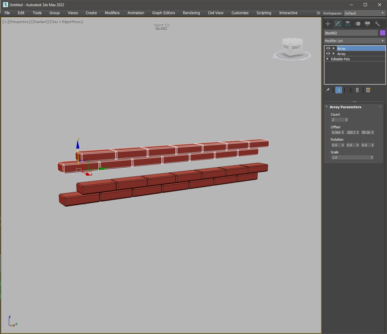 few objects with array modifier in 3ds max