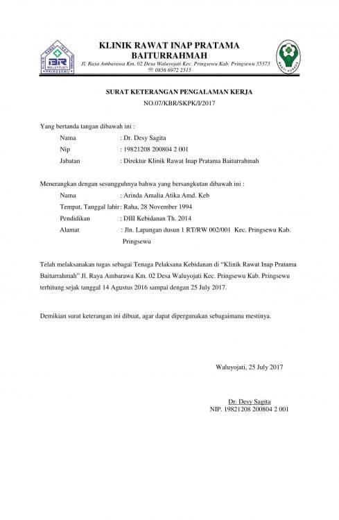 Contoh Surat Pengalaman Kerja Di Klinik
