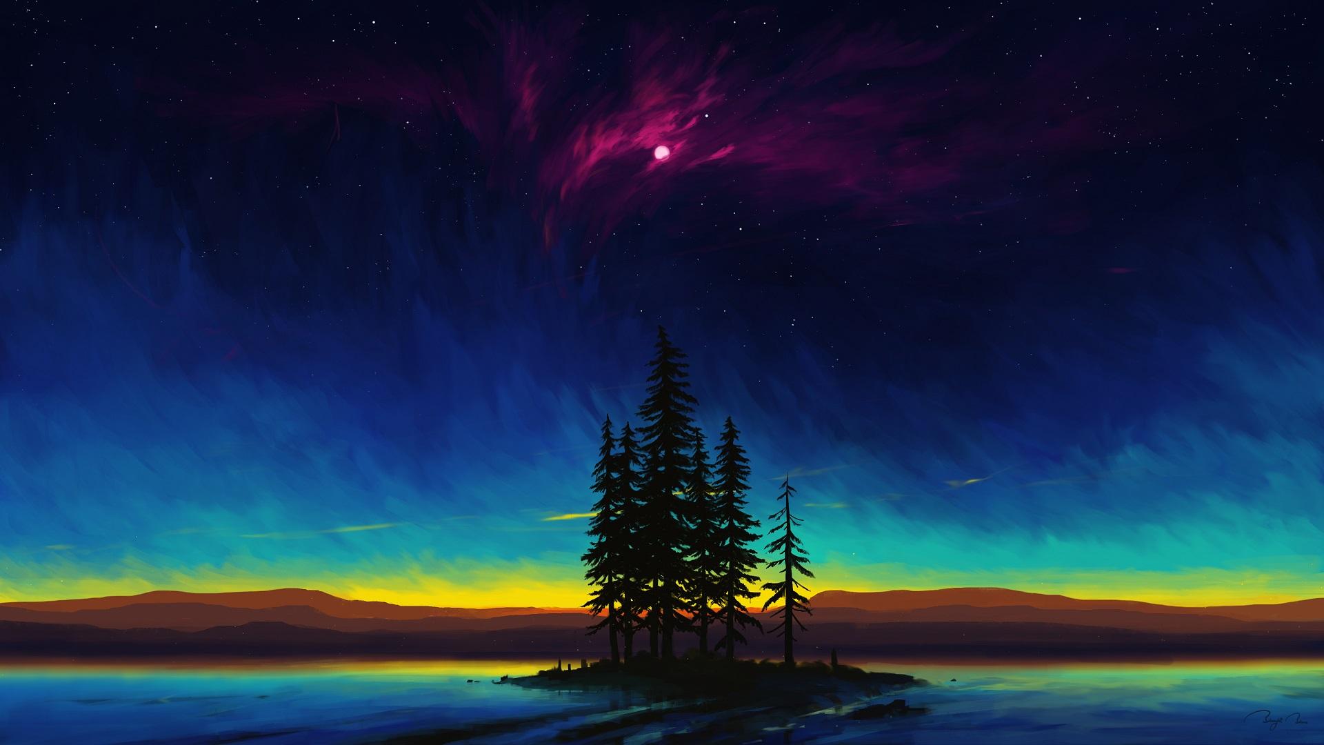 BEAUTIFUL DESKTOP WALLPAPER 4K - Sunset Moon Night Sky Landscape Scenery Digital Art 4K