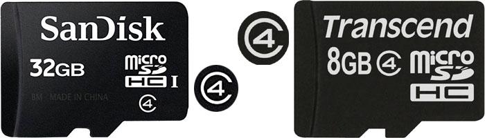 microSDに表記されたスピードクラス4(Class 4)のロゴマーク