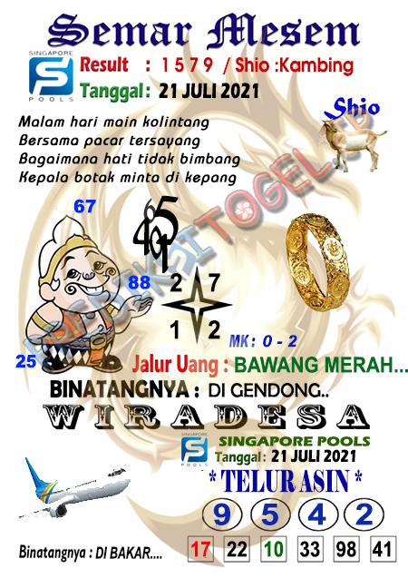 Syair Semar Mesem SGP Rabu 21-07-2021