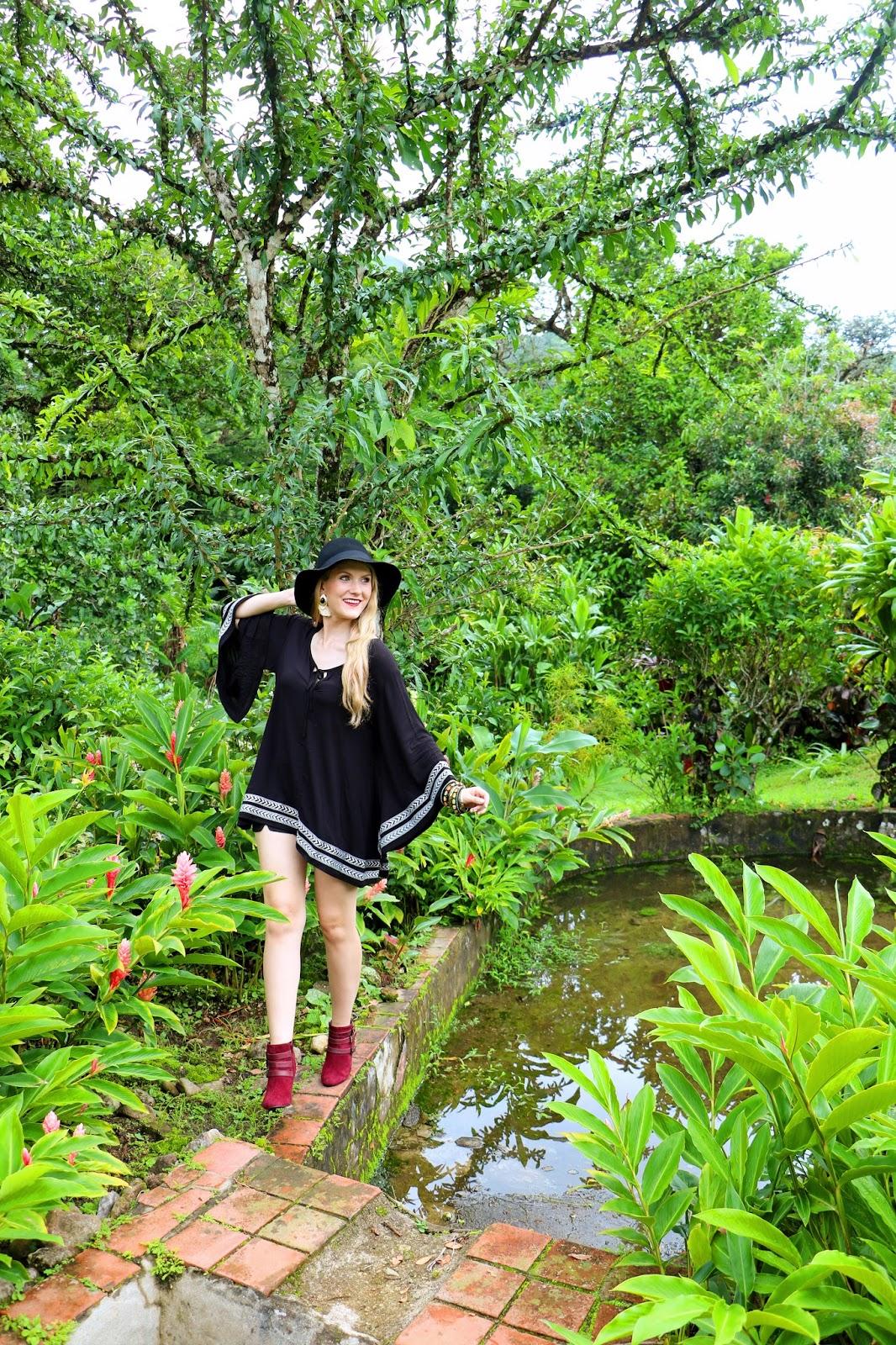 Boho outfit with a poncho