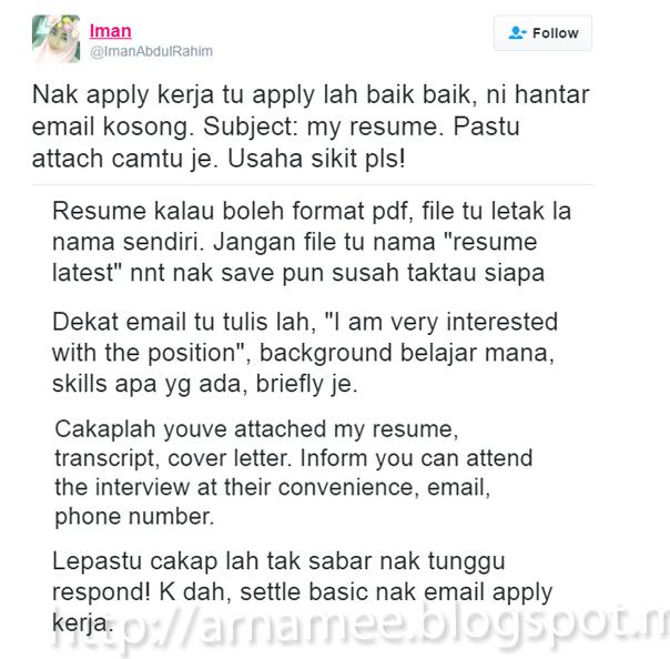 cara tulis resume tips lulus temuduga interview arnamee blogspot