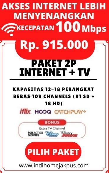 paket indihome jakarta pusat, paket indihome 2P TV 100mbps