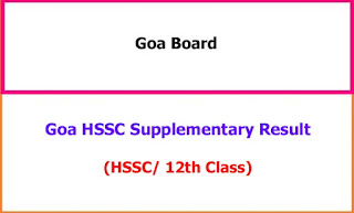 Goa 12th Supplementary Exam Results 2021