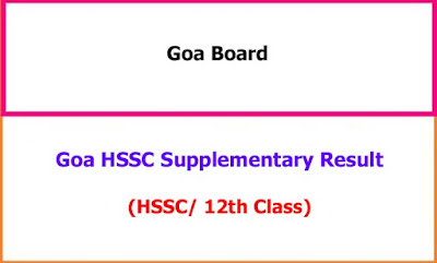 Goa 12th Supplementary Exam Results