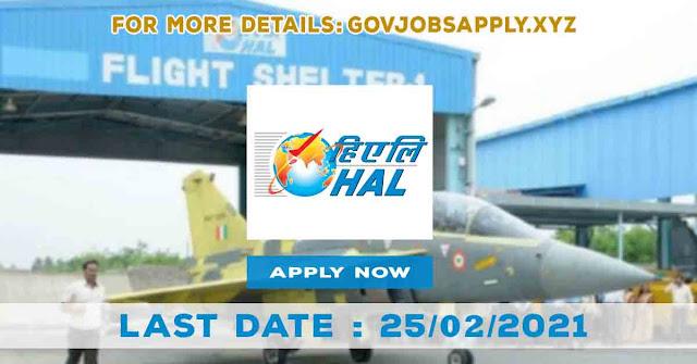 Hindustan Aeronautics Limited Job Recruitment Notification Details 2021   Total Vacancy 165   Last Date 25th February 2021