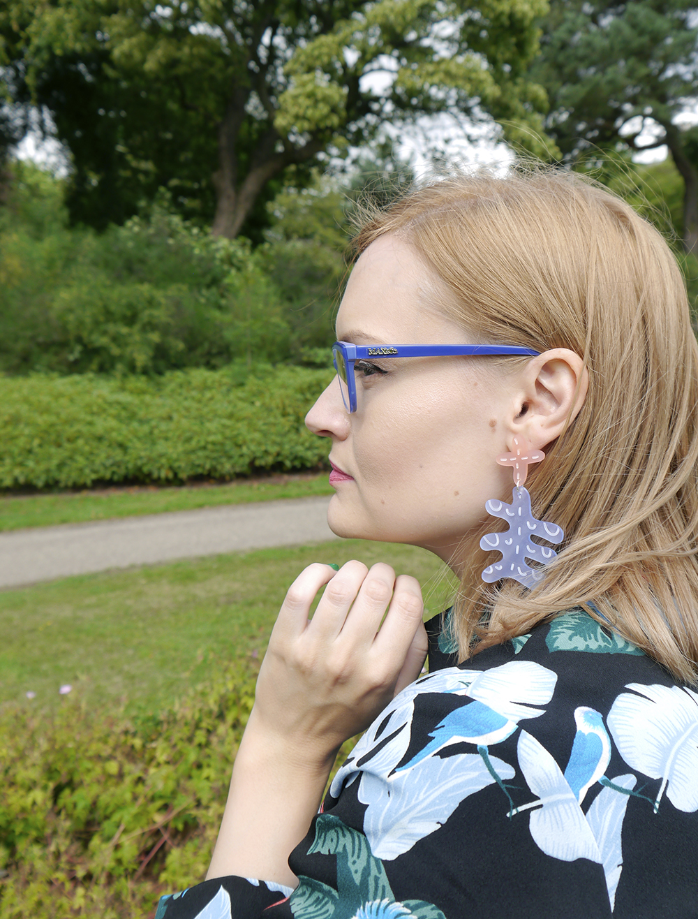 Beautiful oversized acrylic earrings from designer Julia de Klerk