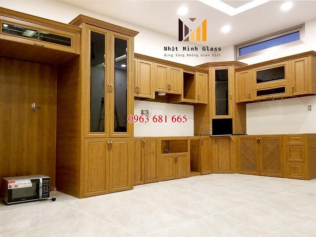 Tủ bếp nhôm giả gỗ Eurostar