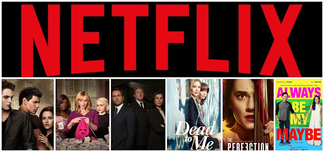 collage - Netflix logo on top. Film posters on the bottom - Twilight New Moon, Good Girls, Line Of Duty, Dead To Me, The Perfection, Always Be My Maybe