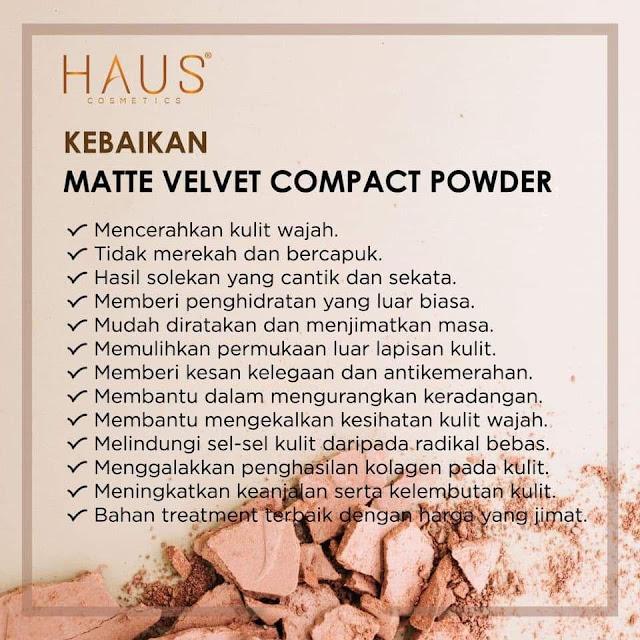Kebaikan Matte Velvet Cmpact Powder By Haus Cosmetics