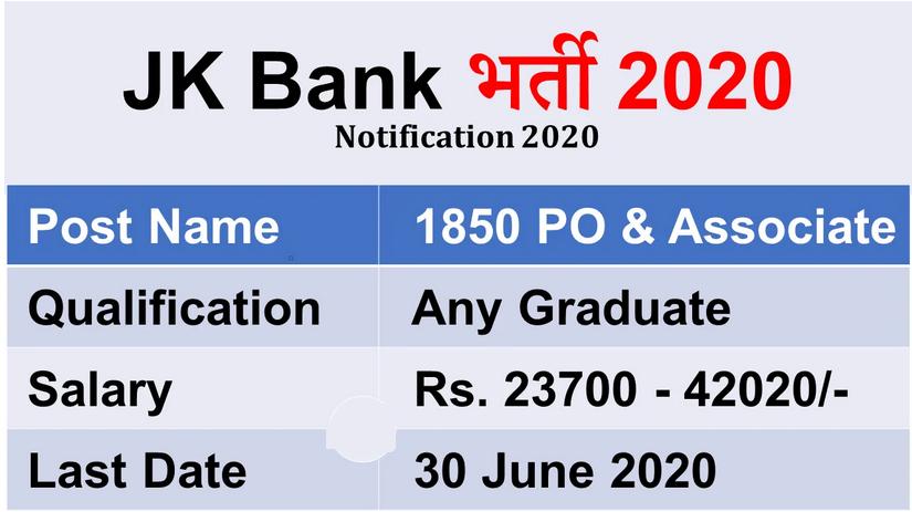 JK Bank Recruitment 2020 – Apply Online For 1850 Probationary Officer, Banking Associate Posts