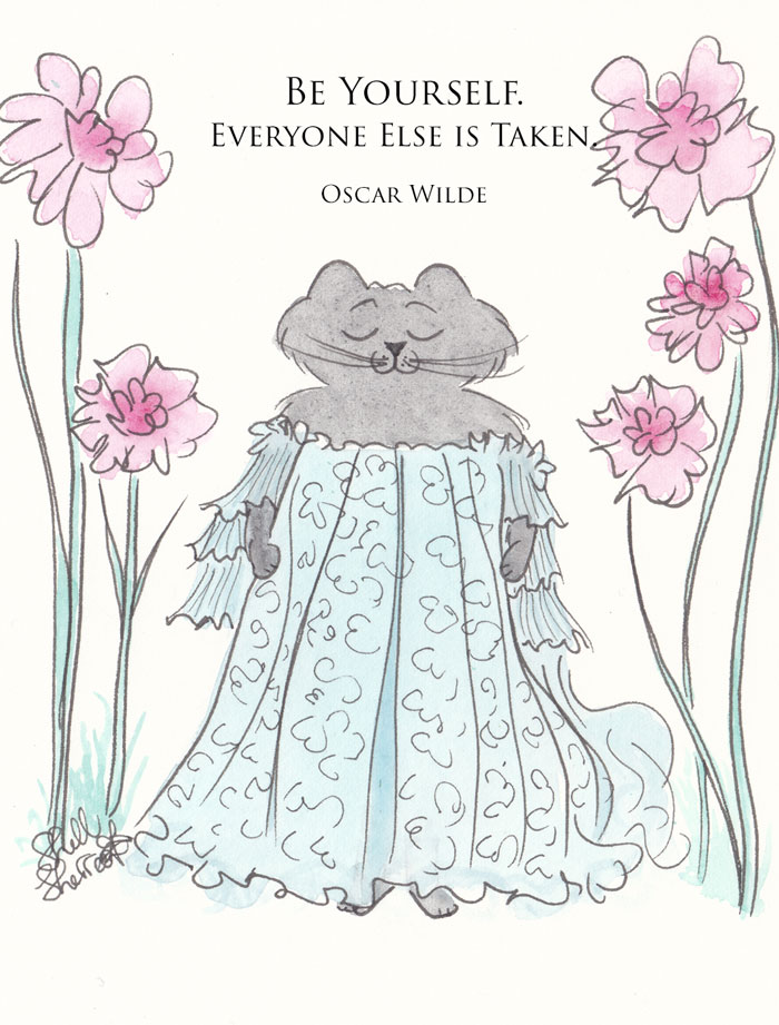 Black Cat art illustration quote - Be Yourself, Everyone Else is Taken (Oscar Wilde) © Shell Sherree all rights reserved