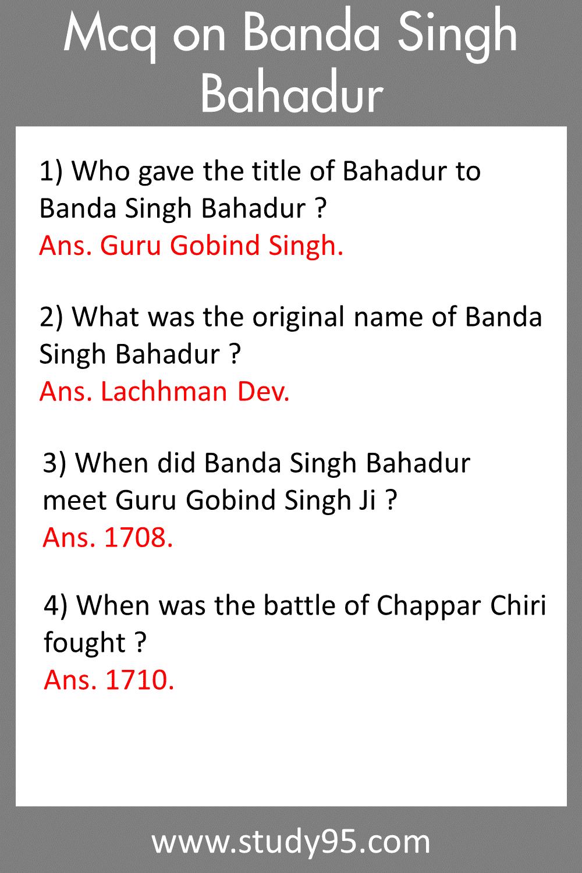Banda Singh Bahadur GK Questions