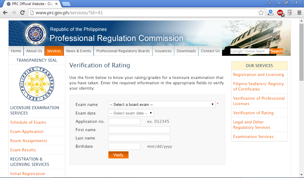 PRC Verification of Rating