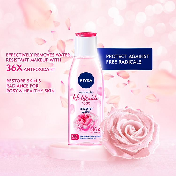 Review  mengenai nivea hokkaido rose micellar water yang super best  untuk menanggalkan makeup