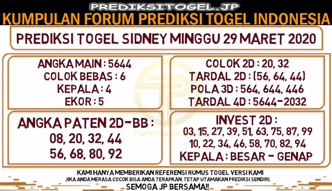Prediksi Togel Sidney Minggu 29 Maret 2020 - Prediksi Togel JP