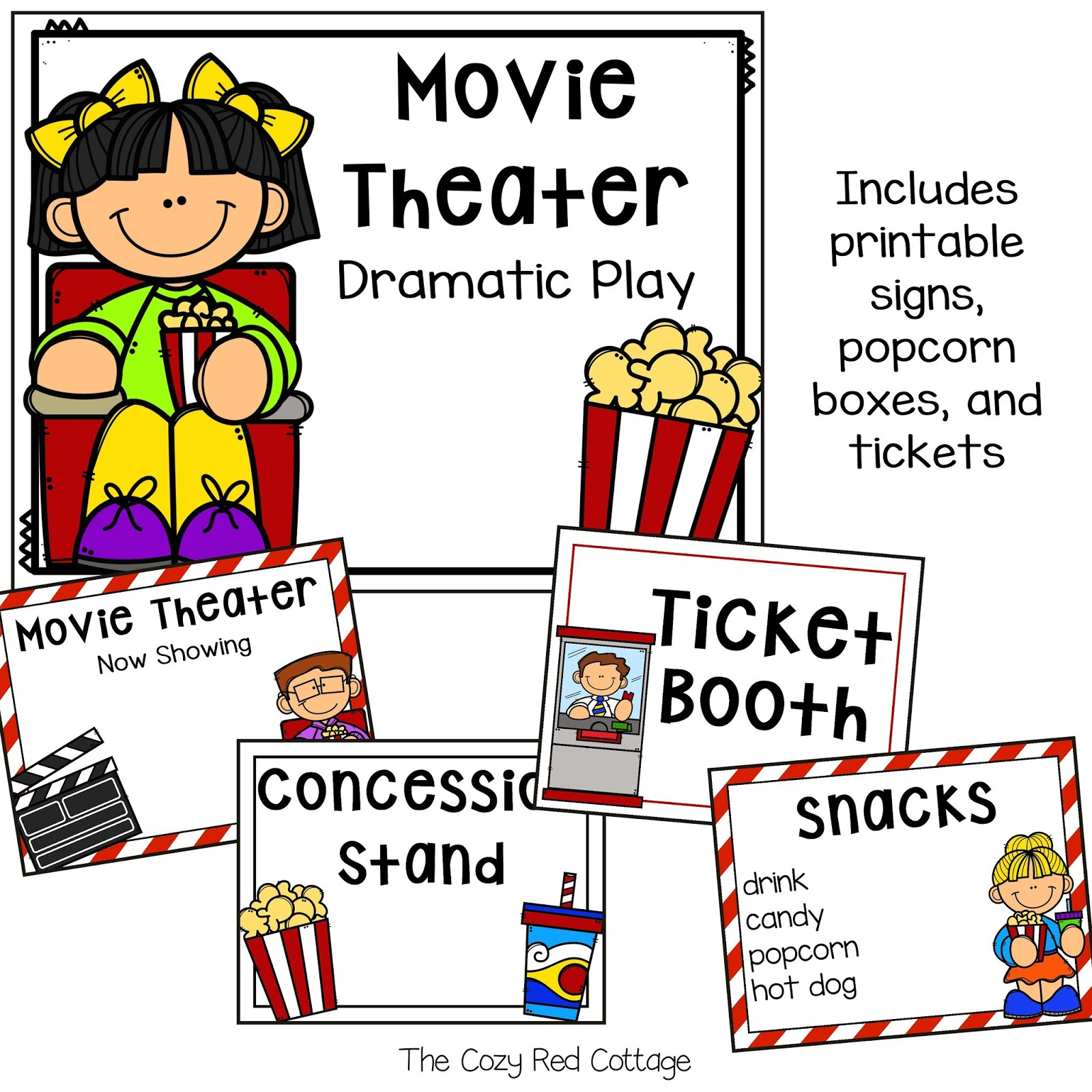 The Cozy Red Cottage Free Movie Theater Dramatic Play