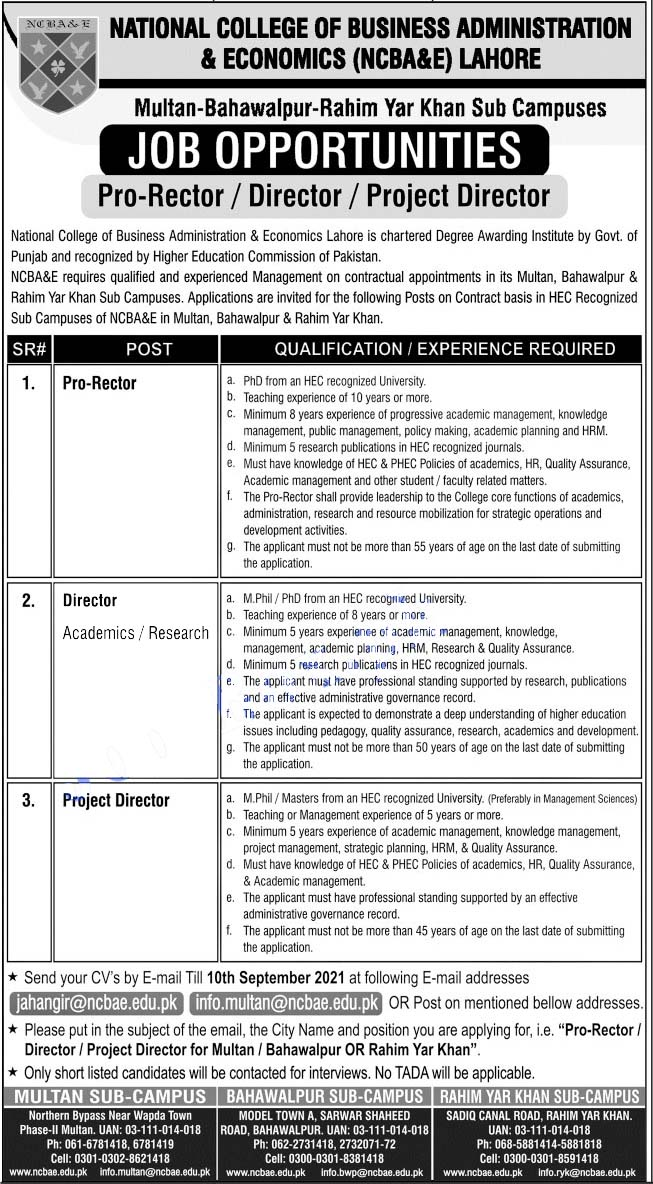 National College of Business Administration & Economics Latest Jobs 2021
