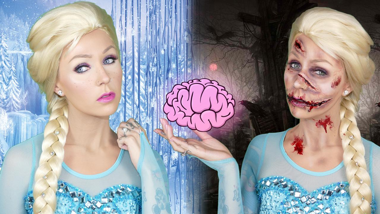 Zombie Elsa Vs Queen Elsa Halloween Makeup Tutorial Kristen