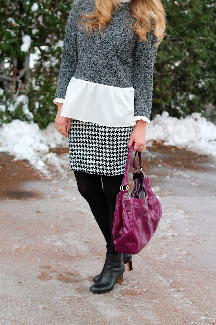 layered sweater, houndstooth pencil skirt, black booties, purple Coach bag