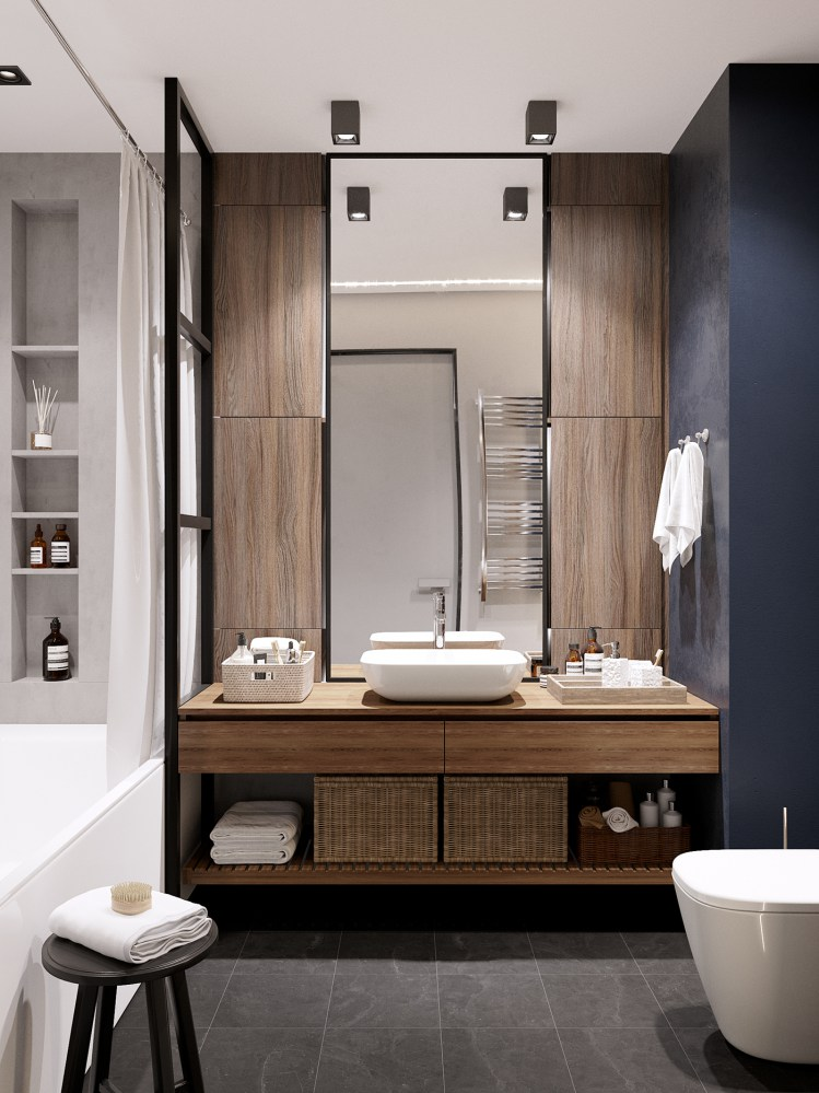 Mueble de lavabo de madera