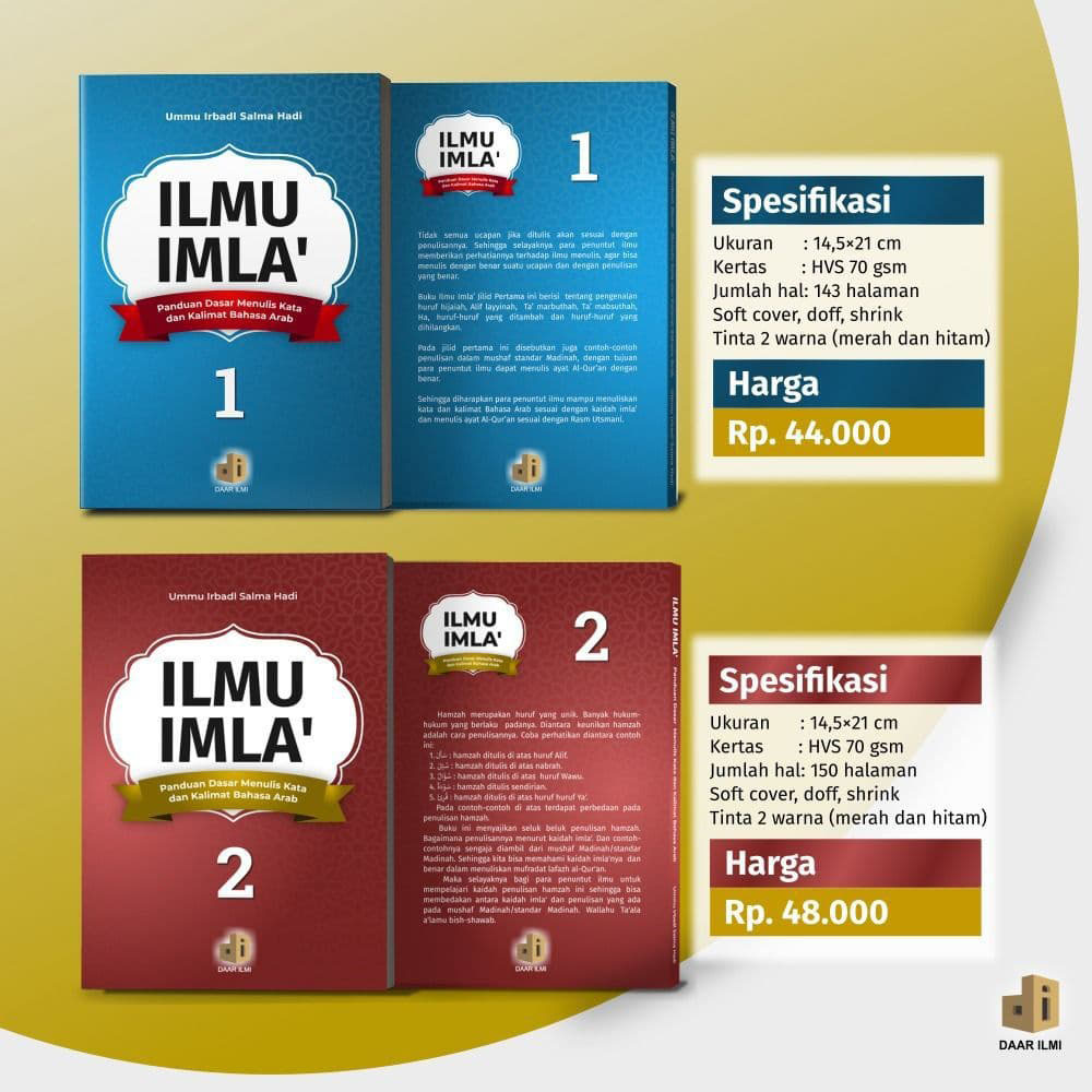 Buku Ilmu Imla Jilid 1 2 Daar Ilmi Panduan Menulis Kata dan Kalimat Bahasa Arab