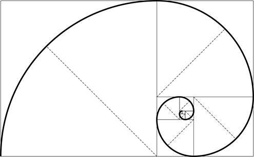 ilustracion de la espiral de fibonacci (fibonnaci sequence), sucesión de fibonacci, secuencia de fibonacci, o también llamada espiral dorada; todo ello con fondo blanco 2