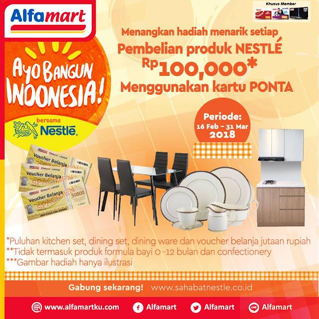Ayo bangun Indonesia! Menangkan hadiah total puluhan juta rupiah setiap pembelian produk Nestle Rp 100.000* menggunakan kartu Ponta.