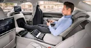 Man inside 2018 Audi A8 Sportscar