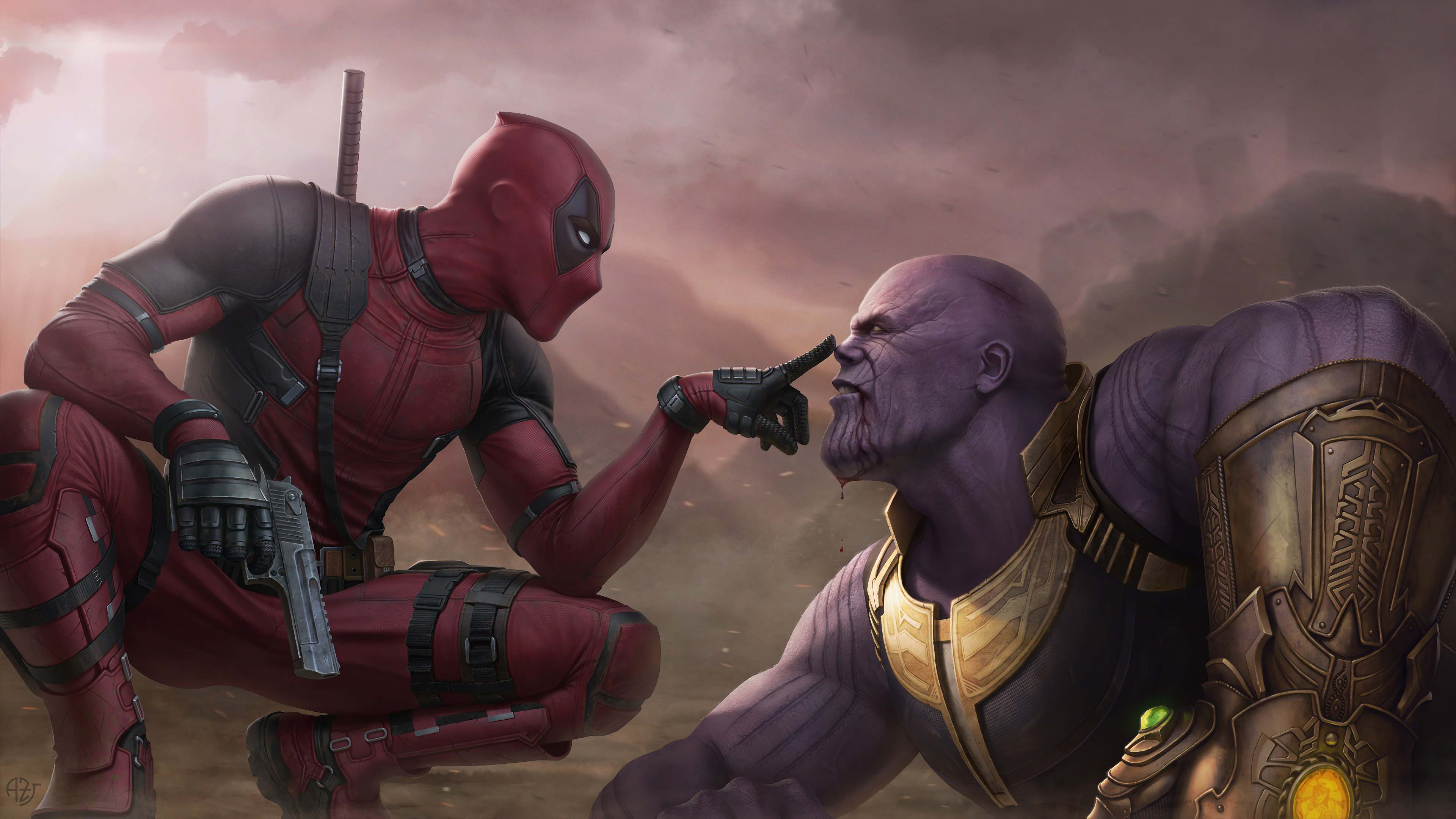 Deadpool Vs Thanos 4k Wallpaper 119