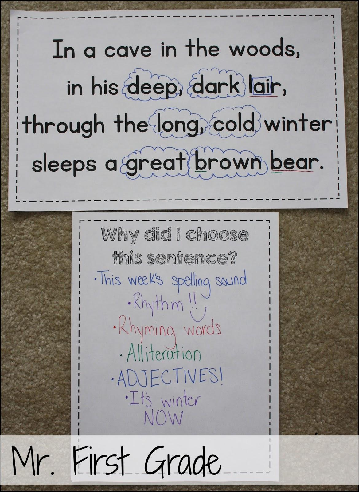Mr First Grade Mentor Sentences