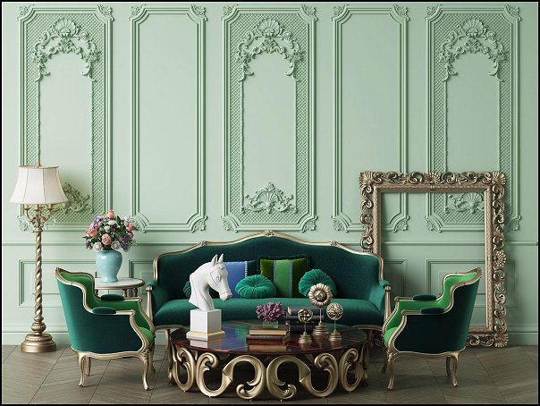 Baroque Wall with Mouldings  Self-adhesive Removable Mural