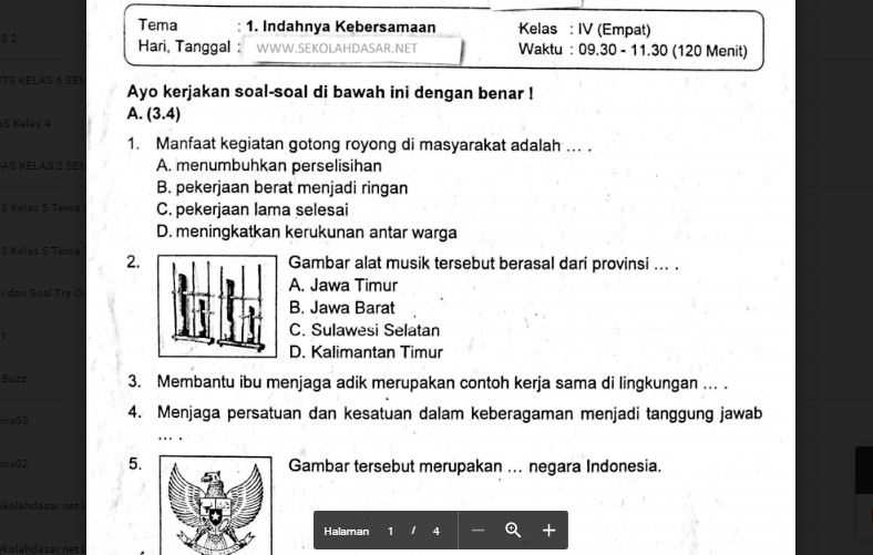 Soal Tema 1 Kelas 4 Dan Kunci Jawaban Guru Galeri