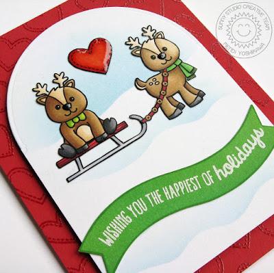 Sunny Studio Stamps: Gleeful Reindeer Card by Mendi Yoshikawa