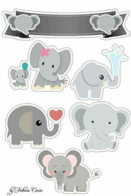 Baby Elephants  Free Printable Cake Toppers.
