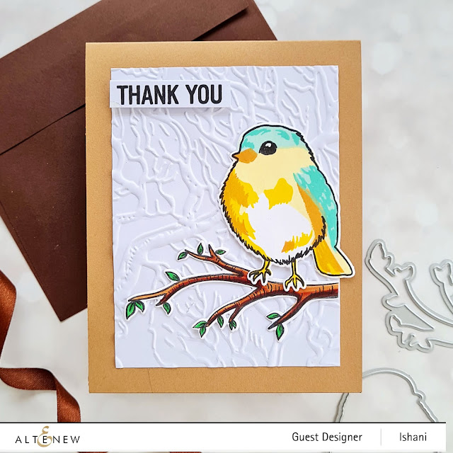 Altenew Bird of woods stamp set and dies, Altenew Walnut 3 D embossing folder, Cute bird card, Altenew Bird stamp, Thank you card, Bird card, Quillish