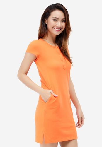 Đầm suông Ha Gattini tay ngắn màu cam