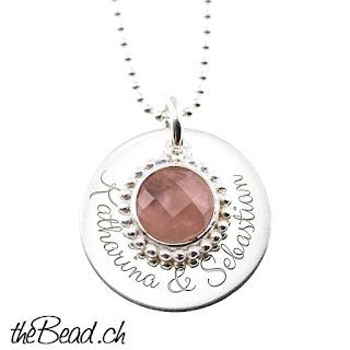 Rosenquarz Silberhalskette und Namenskette mit Gravur online kaufen
