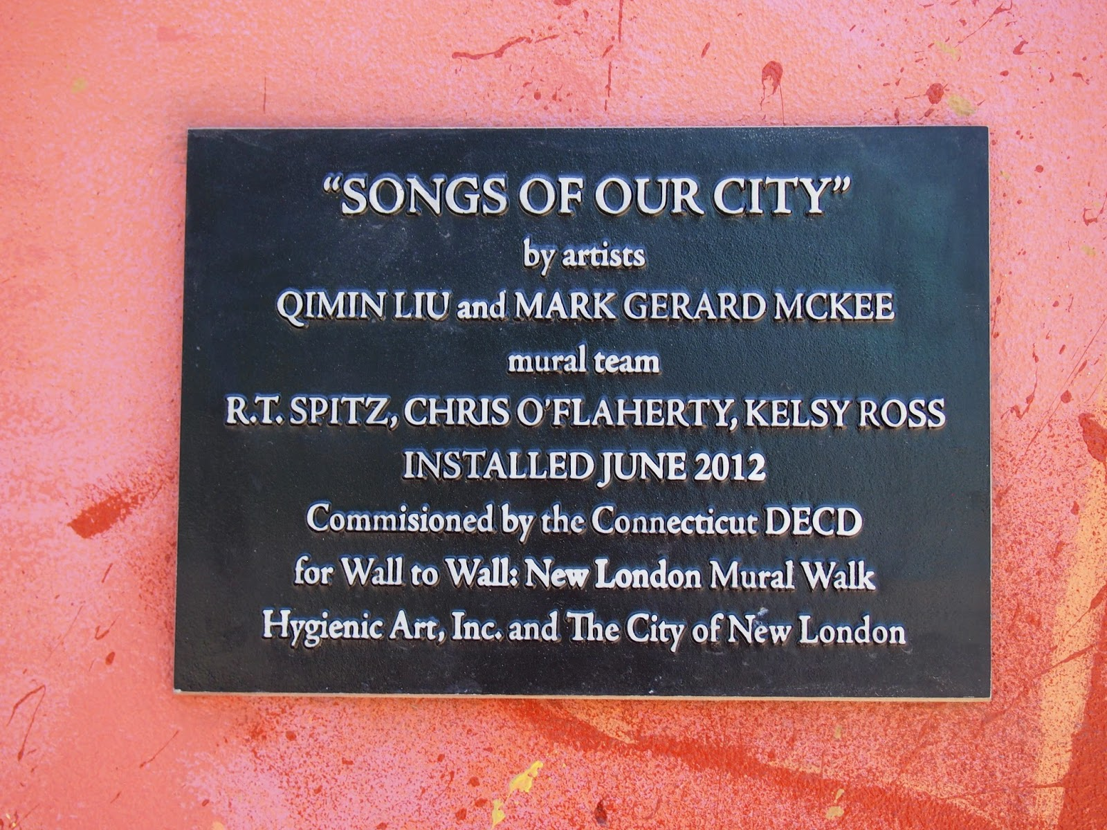 Songs of our city plaque